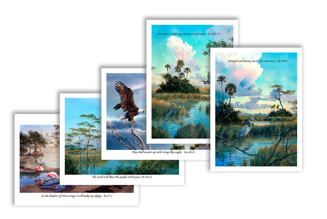 Note Cards:  Bird Scenes with Scripture - Shipping is FREE!