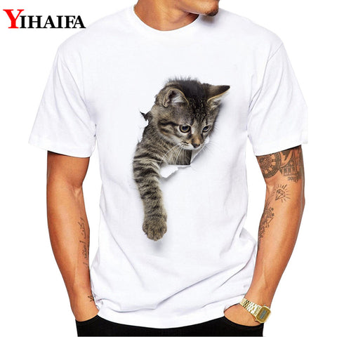 Men T-Shirt 3D Cat Print Stylish Summer Short sleeve Slim Fit Round Neck White Printed Tee Shirts