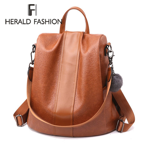 HERALD FASHION Quality Leather Anti-thief Women's Backpack