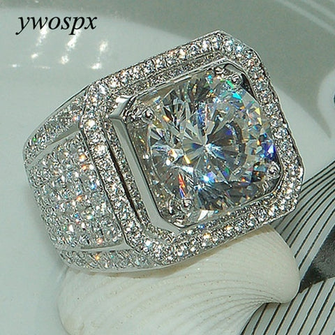 YWOSPX Luxury Full Crystal Big Stone Rings For Men And Women