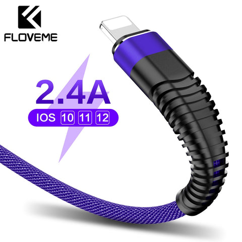 FLOVEME 2.4A USB Lighting Cable For iPhone XR,X,7 Charger