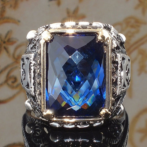 Big Blue CZ Zircon Stone Vintage Silver Color Rings for Men And Women
