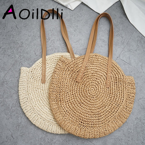Round Straw Beach Bag