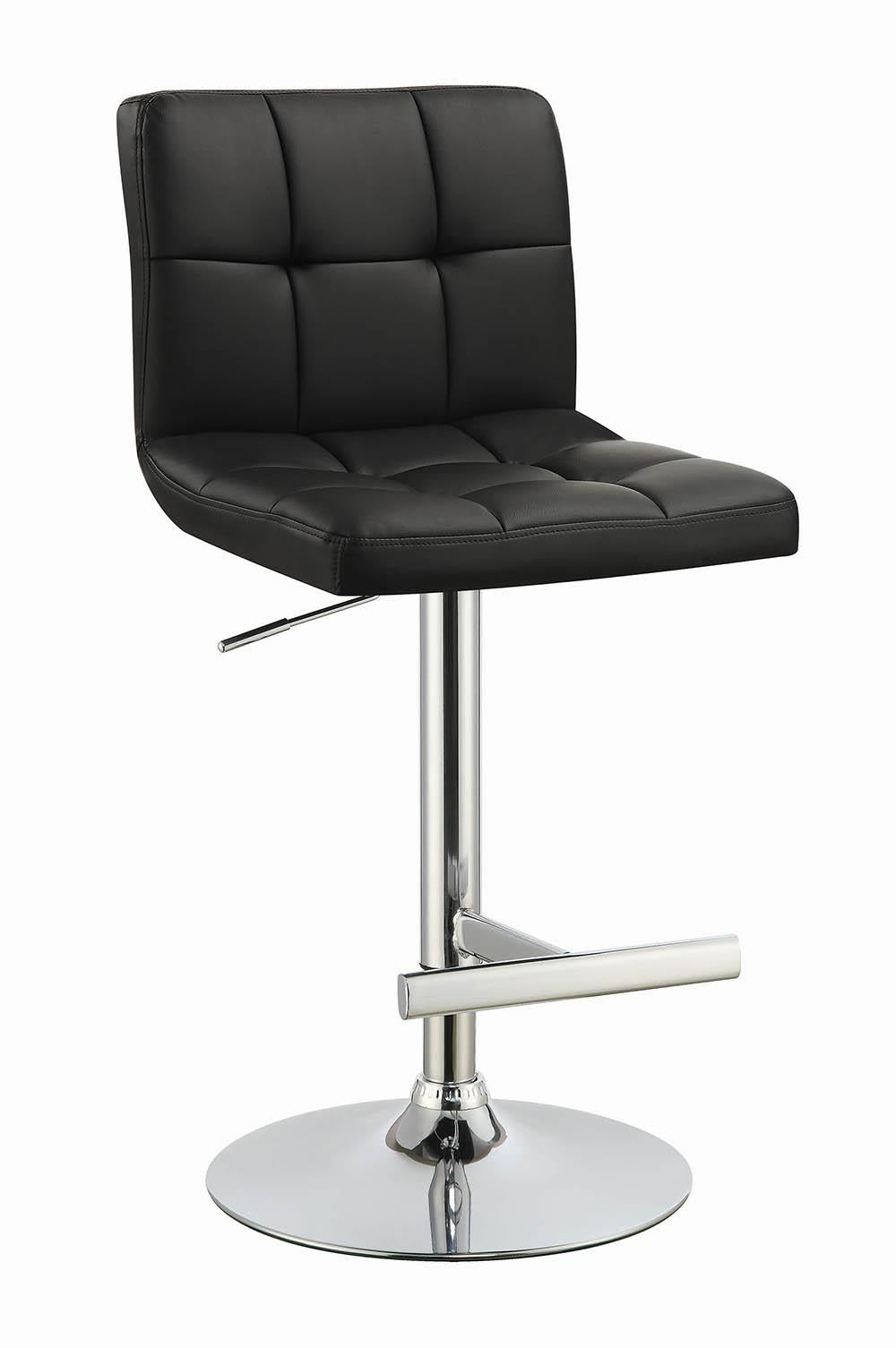 Contemporary Black and Chrome Adjustable Bar Stool