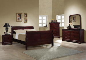 Louis Philippe Traditional Red Brown Sleigh Full Bed