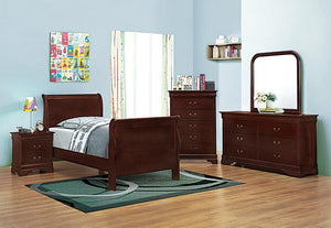 Louis Philippe Traditional Red Brown Twin Five-Piece Set