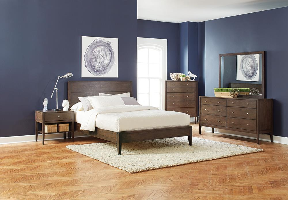 Lompoc Mid-Century Modern Brown Walnut Eastern King Bed