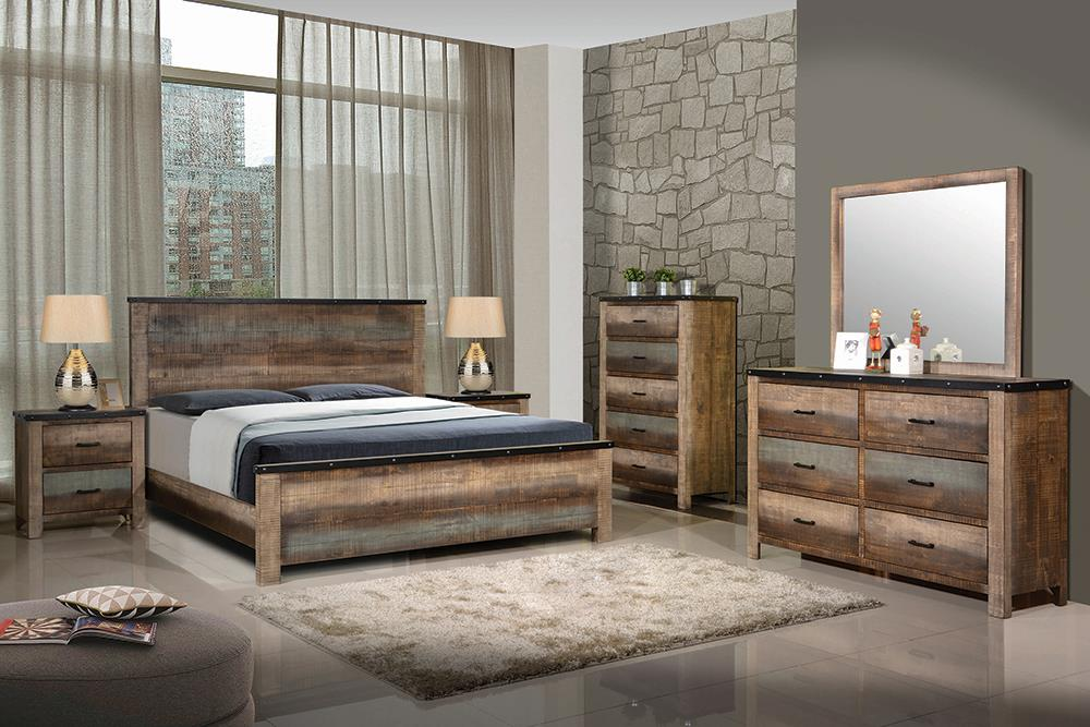Sembene Bedroom Rustic Antique Multi-Color Eastern King Four-Piece Set