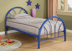 Transitional Blue Twin Bed