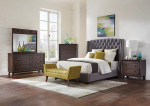 Pissarro Transitional Upholstered Grey and Chocolate Queen Bed