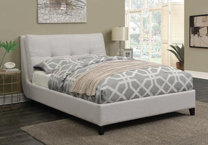 Amador Beige Upholstered King Platform Bed