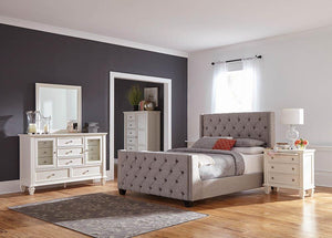 Palma Light Grey Upholstered King Bed
