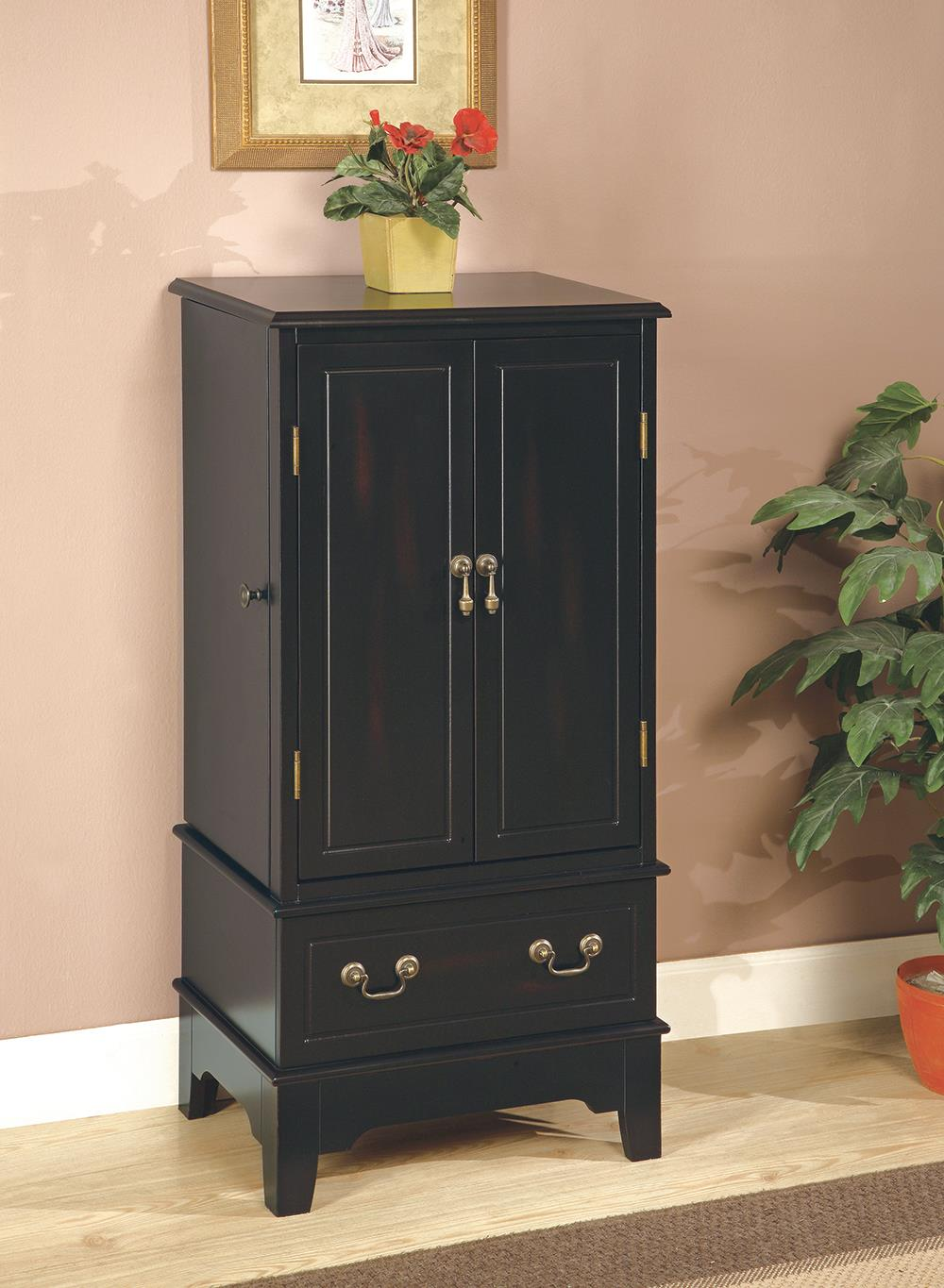 Transitional Black Jewelry Armoire
