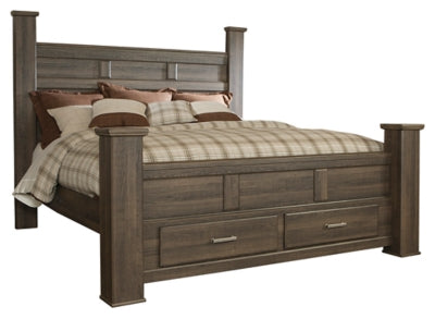 Juararo King Poster Bed with 2 Storage Drawers