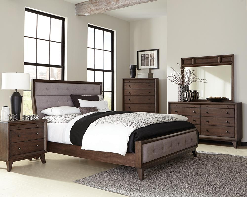 Bingham Retro-Modern Brown Upholstered Eastern King Four-Piece Bedroom Set