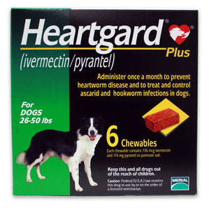 HEARTGARD PLUS CHEWABLE FOR DOGS 26- 50lbs (MEDIUM) per box