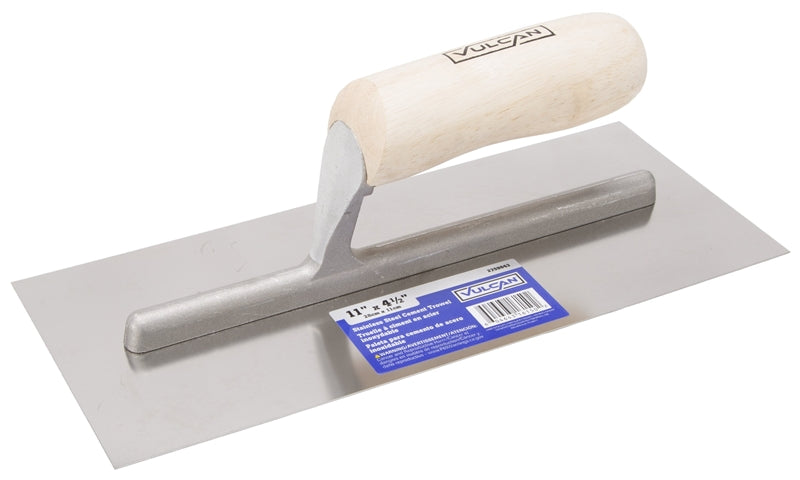 Vulcan Cement Finishing Trowel, 4-1/2 In W X 11 In L Stainless Steel Blade, Wood Handle