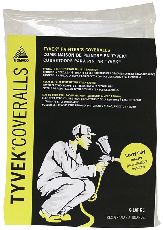 Trimaco 14123 Professional Painter's Coverall, XL, Zipper Closure, Tyvek, White