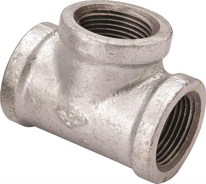 Worldwide Sourcing Pipe Reducing Tee, 1/2 X 1/2 X 3/8 In, Threaded, Steel