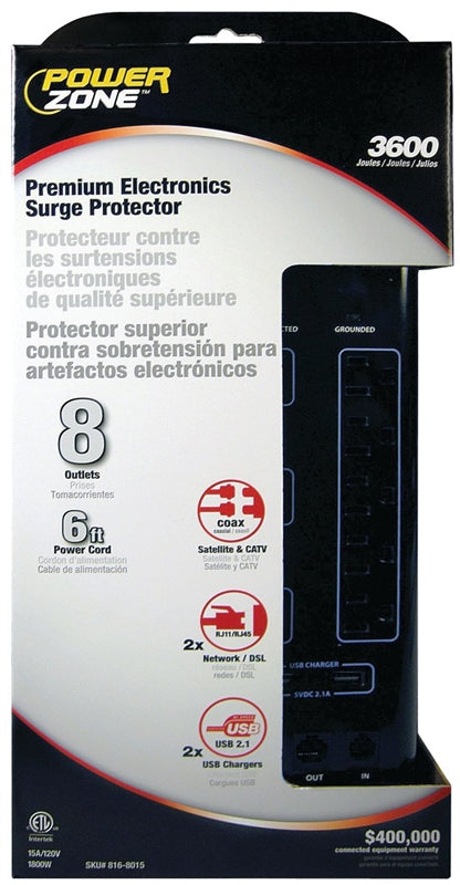 PowerZone Surge Protector Strip, 125 V, 15 A, 8 Outlet