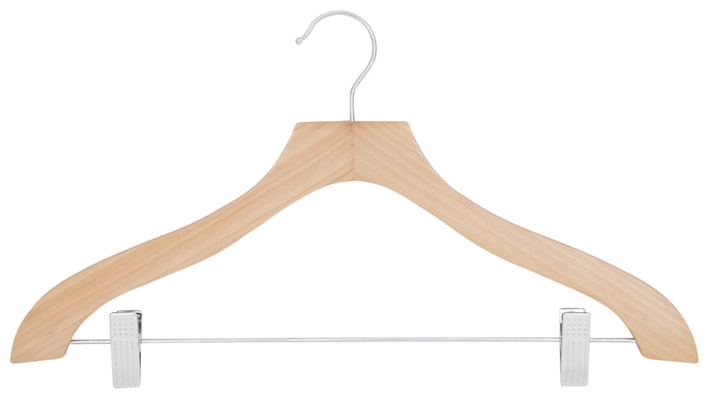 Simple Spaces 2 Clip Heavy Duty Clothes Hanger, Wood, Natural
