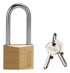 ProSource Padlock, 1-1/2 In, 4 Pins, Long Hardened Steel Shackle, Solid Brass