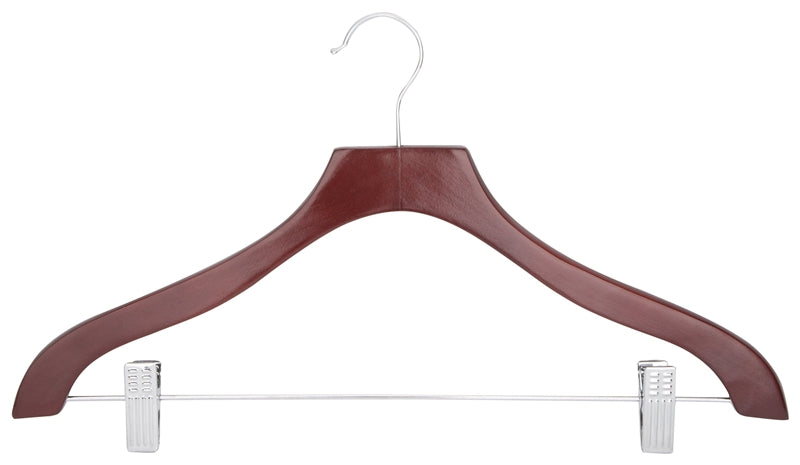 Simple Spaces 2 Clip Heavy Duty Clothes Hanger, Wood, Mahogany
