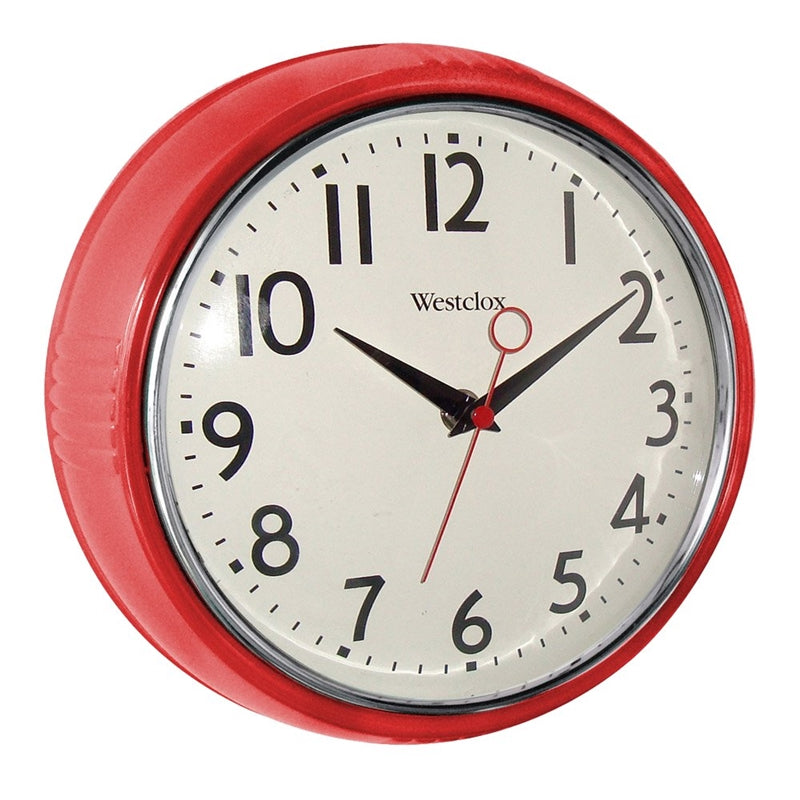 Westclox Classic 1950 Series 32042R Wall Clock, Round, Analog, Red Frame