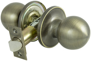 ProSource Passage Door Knob, 2-3/8 - 2-3/4 In, Adjustable 6-Way Latch Bolt Fasteners, Antiqued Brass