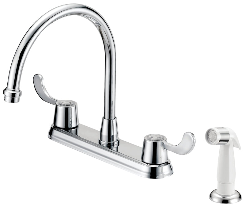 Boston Harbor Kitchen Faucet, 1.75 Gpm At 60 Psi, 8 In Center Distance, 2 Durable Metal Lever Handle