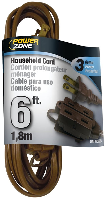 PowerZone Spt-2 Extension Cord, 16/2, 6 Ft