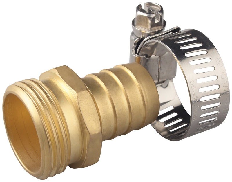 Landscapers Select Hose Coupling With Stainless Steel Clamp, 3/4 In, Male, Solid Brass