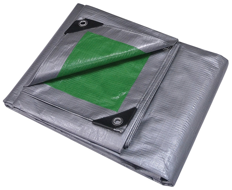 ProSource Heavy Duty Reversible Tarp With Aluminum Grommets, 12 Ft L X 9 Ft W, 12 X 12 In Mesh, Polyethylene