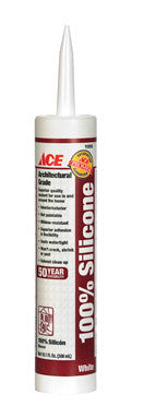 CAULK SILICONE WHITE 10.1OZ ACE