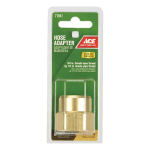 Ace 3/4 in. FHT x 1/2 in. FPT Brass Threaded Female Hose Adapter