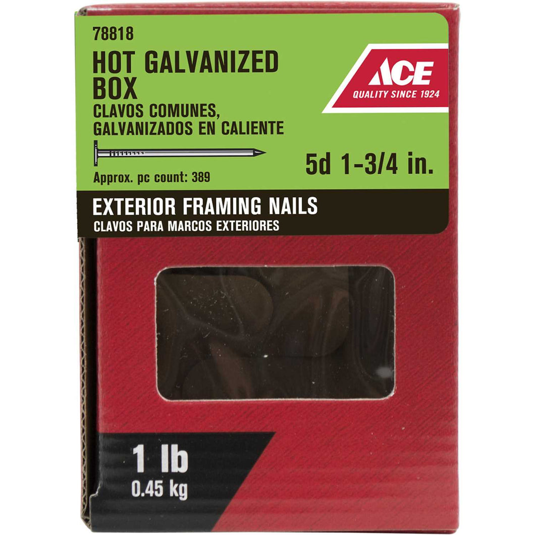 Ace 5D 1-3/4 in. L Box Hot-Dipped Galvanized Steel Nail Thin Shank Flat 389 lb.