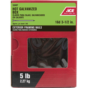 Ace 16D 3-1/2 in. L Box Hot-Dipped Galvanized Steel Nail Thin Shank Flat 5 lb.