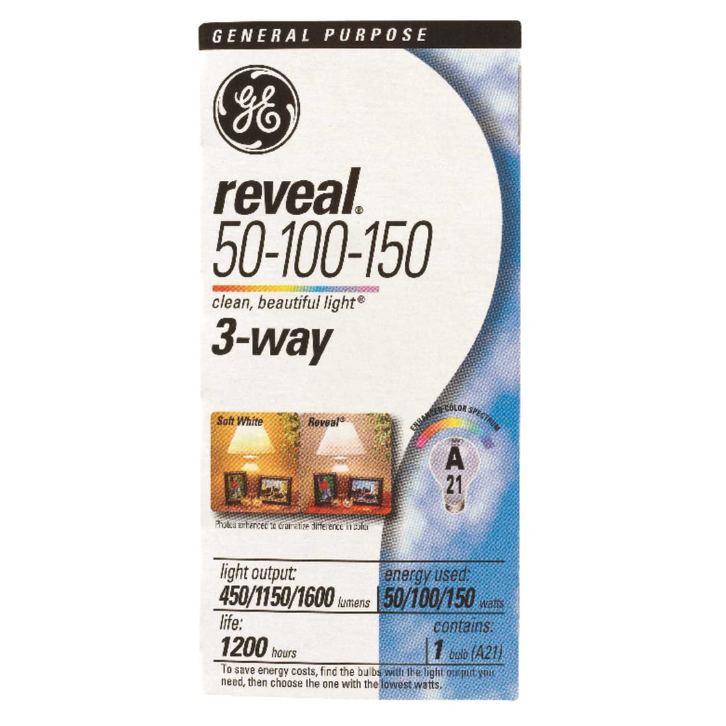 GE Reveal 50/100/150 watts A21 Three Way Bulb A-Line Incandescent Bulb E26 (Medium) Soft White