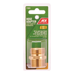Ace 3/4 in. MHT x 3/4 in. MPT x 1/2 in. FPT Brass Threaded Hose Adapter