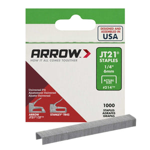 Arrow Fastener 1/4 in. L x 7/16 in. W Galvanized Steel Wide Crown Light Duty Staples 23 Ga. 1000
