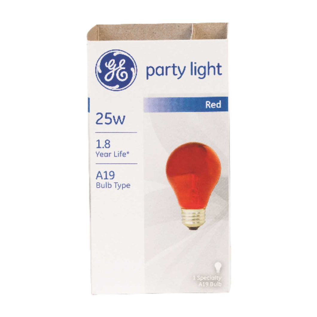 GE 25 watts A19 A-Line Incandescent Bulb E26 (Medium) Red 1 pk