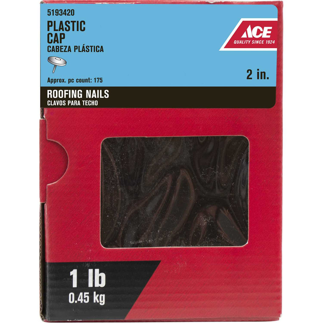 Ace 2 in. L Roofing Galvanized Plastic/Steel Nail Ring Shank Flat 1 lb.