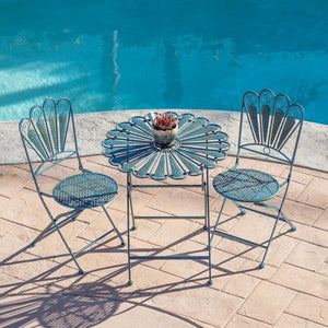 3-Piece Peacock Feather Rustic Metal Bistro Set Patio Seating, Light Blue