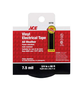 Ace 3/4 in. W x 66 ft. L Black Vinyl Electrical Tape