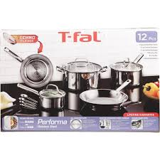 T-Fal Pro Performa Stainless Steel Dishwasher Oven Safe Cookware Set, 12-Piece