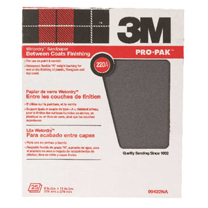 3M Pro-Pak 11 in. L x 9 in. W 180 Grit Medium Silicon Carbide Sandpaper 25 pk