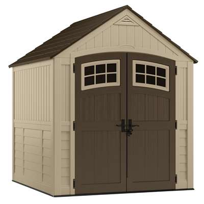 Suncast Sutton 7 ft. W x 7 ft. D Plastic Vertical Storage Shed With Floor Kit