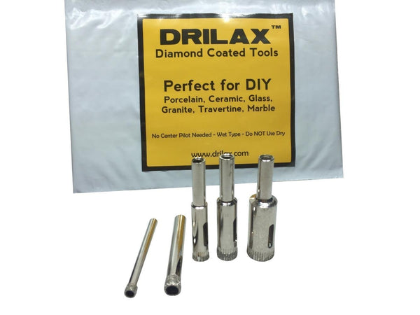 Drilax 5 Pieces Diamond Coated Hollow Core Drill Bit Set 3/16, 1/4, 5/16, 3/8, 1/2 Inch Drilling Tile Glass Fish Tank Granite Ceramic Porcelain Bottles Quartz Lot Kitchen Bathroom Shower Lamps