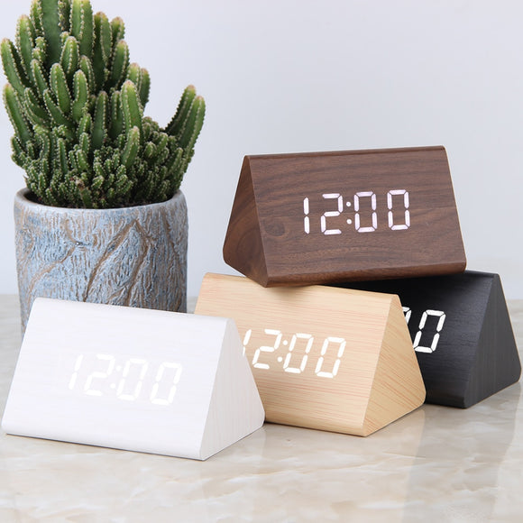 Wooden Alarm Clock - Triangle Design