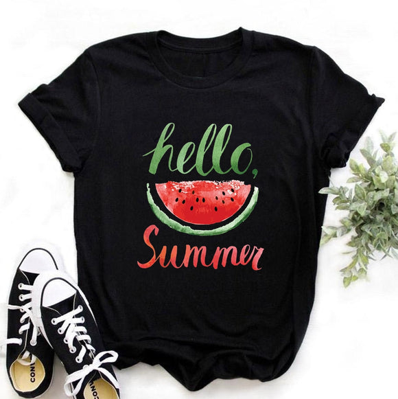 Hello Summer Print - Women T Shirt